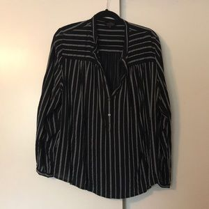 Collarless Striped Button Down Shirt